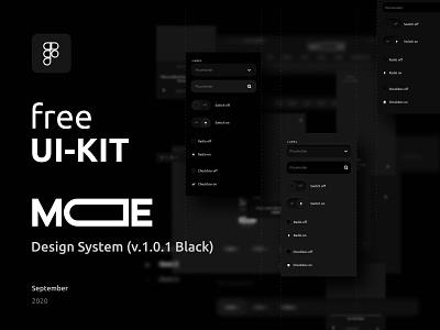 MODE — Design System   Free UI-Kit Download neomorphism skeumorphism minimalism dark mode dark ui design uidesign black webdesign ui ui kit design system