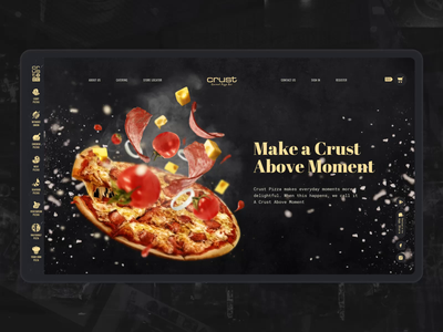 Pizza Main Scrolling interaction food pizza website webdesign ui motion e-comerce design black scrolling animation