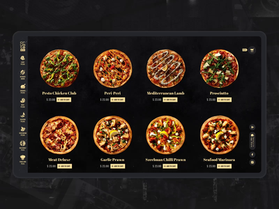 Pizza Catalog uidesign pizza food e-commerce black website interaction webdesign animation ui motion