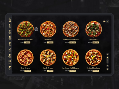 Pizza Add To Cart uidesign pizza food e-commerce design black website interaction webdesign animation ui motion