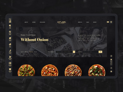 Pizza Whole Order Process cart checkout uidesign pizza food e-commerce design black website interaction webdesign animation ui motion