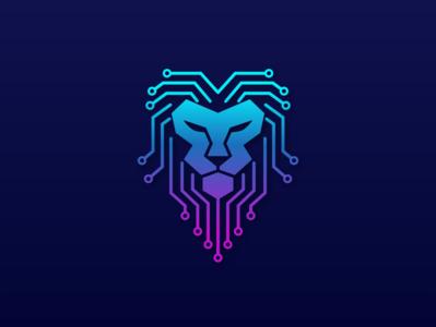Lion Tech - Lion Head Technology Logo