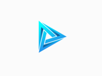 Play Icon with Creative Triangle Form