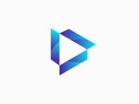 Letter V+Play Icon 3D Logo