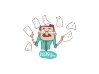 Busy Man Cartoon Sticker