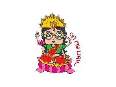 On My Way Goddess Laxmi Sticker goddess laxmi sticker cartoon stickers indian cartoon chat stickers indian stickers