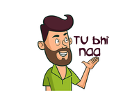 Man Saying Tu Bhi Na Hindi Text Sticker