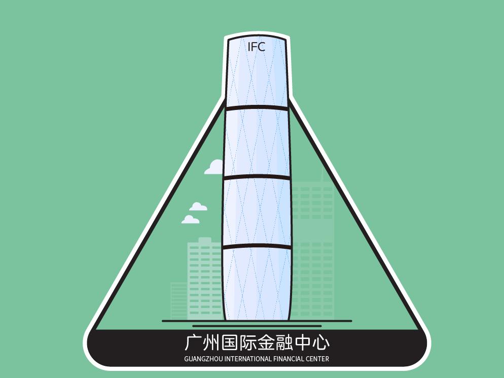 地标图形   广州国际金融中心 landmark graphic illustrator