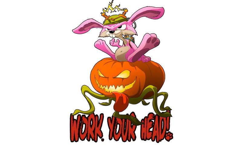 Work Your Head! print character design poster art character digital 2d digital art slogan design creature cartoon fantasy illustration