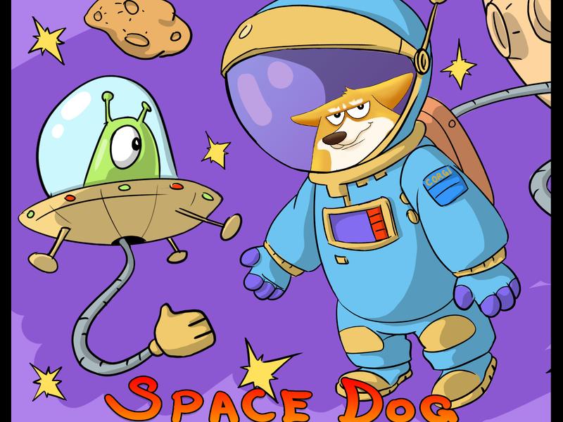 Space Dog starship alien ufo dog crazy sci-fi digital art art characters cartoon character creature beasts character design digital 2d illustration