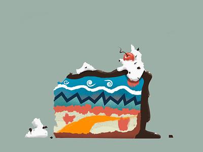cake_illustration flat illustration flatdesign sweets design clean contrast landscape story cake food colour simple illustrator illustration