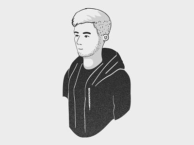 Person - Falk grey simple clean portrait man sketch contrast character avatar person vector illustrator illustration