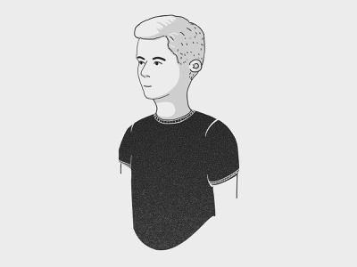 Person - Flo design sketch simple portrait man light grey contrast clean avatar person character vector illustrator illustration