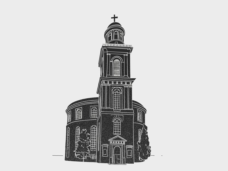 Frankfurt church frankfurt building architecture sketch design clean simple light grey contrast vector illustrator illustration