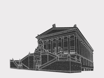 Old National Gallery Berlin berlin building architechture design sketch clean simple light grey contrast vector illustrator illustration