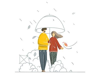 Autumn Walk 🍁 trees nature walk design color rain character simple clean autumn illustrator illustration