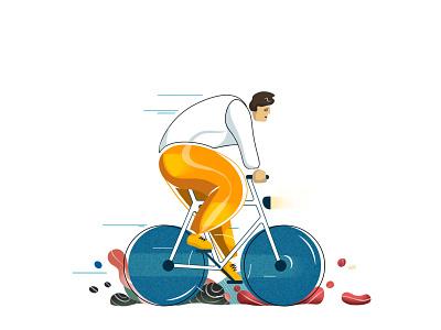 Bike Rider orange yellow style bikes color speed bike ride bike character vector design clean contrast simple illustrator illustration