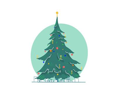 Merry Christmas! light sketch candel lights presents christmastree christmas design contrast clean simple illustrator illustration