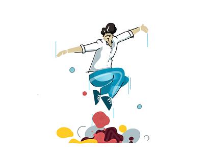 Dancer 2 person fun dancer dance light character design contrast clean simple illustrator illustration