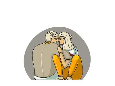 Vigeland illustration art art girl boy couple person character blond simple clean orange design love illustration illustrator