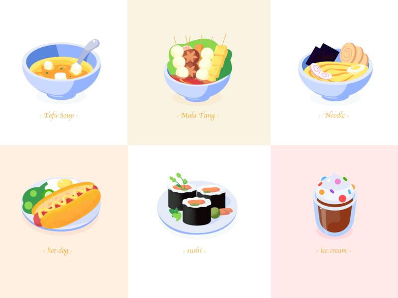Food icon design colorful illustration delicious malatang food ice cream sushi hot dog noodle soup tofu