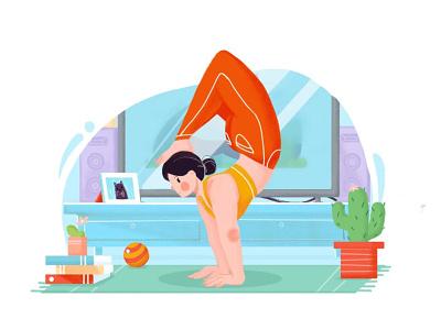 Sports girl people illustration personnal design beautiful girl colorful bright illustration sports design girl