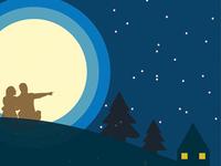 Couple Moonlight Vector Illustration