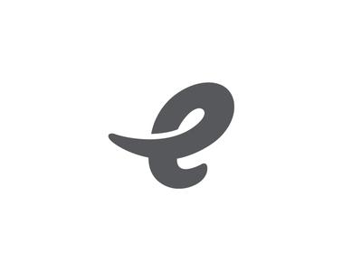 E For Elephant e elephant type animal logo mark symbol