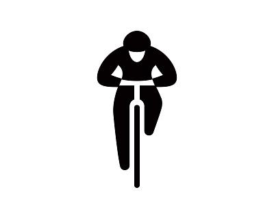 cyclist icon sports branding space negative identity mark symbol logo