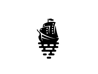 sail boat for the film production brand logo mark boat milash symbol sail wave water