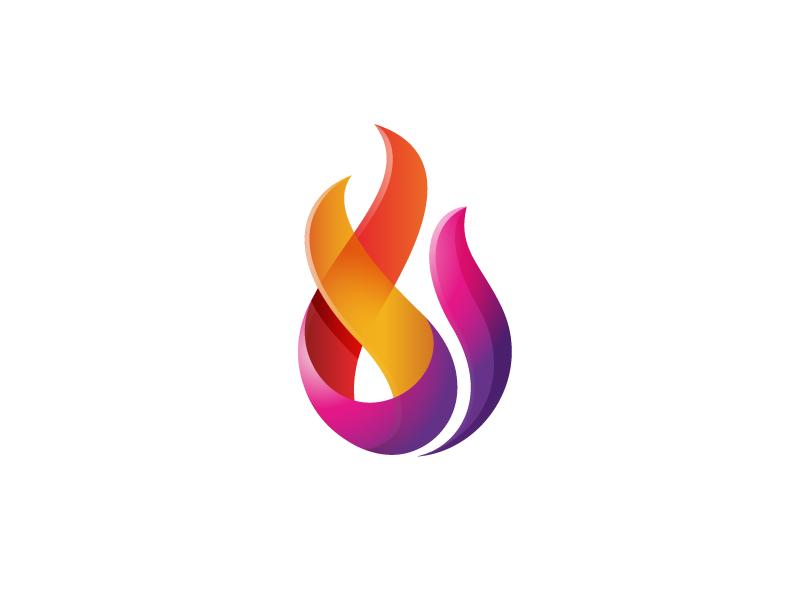 Fire logo mark abstract figure design fire