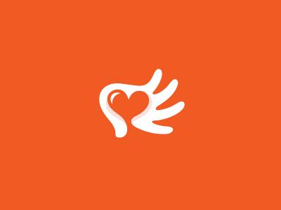 hand heart logo mark symbol identity design logotype hand heart