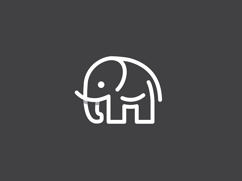 Elephant logo mark symbol identity design logotype illustration elephant