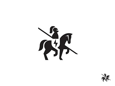 Horseman logo mark symbol identity design logotype illustration horse knight animal