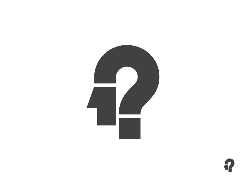 Man As A Question Mark logo mark symbol identity design logotype illustration man question mark