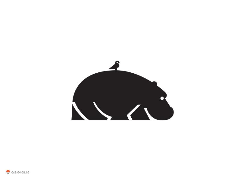 Hippo With Bird bird hippo illustration logotype design identity symbol mark logo