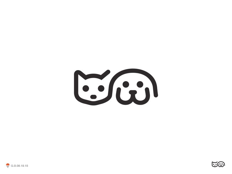 Cat And Dog 2* dog cat illustration logotype design identity symbol mark logo