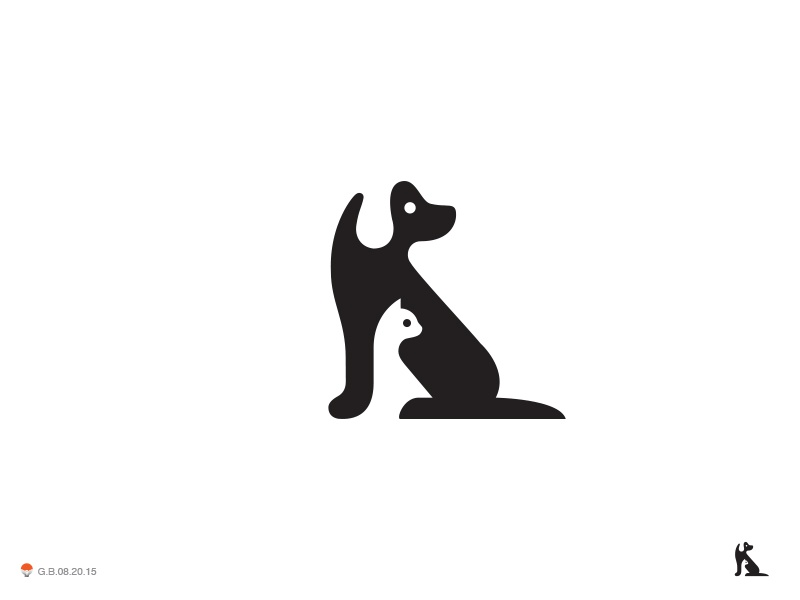 Neg Dog Cat space negative dog cat illustration logotype design identity symbol mark logo