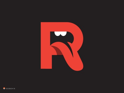 Rolling R letterform letter r stones rolling identity symbol mark logo