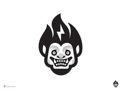 Face* god thunder fire face illustration logotype design identity symbol mark logo
