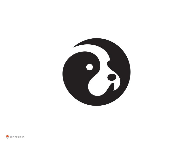 Neg Dog space negative dog identity symbol mark logo