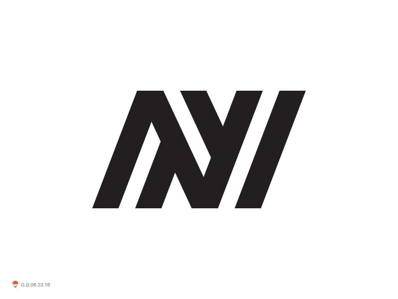 N 2 letter monogram identity symbol mark logo