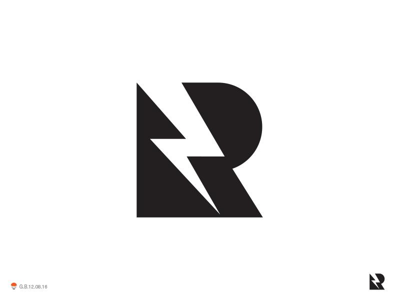 Thunder R letterform identity symbol mark logo