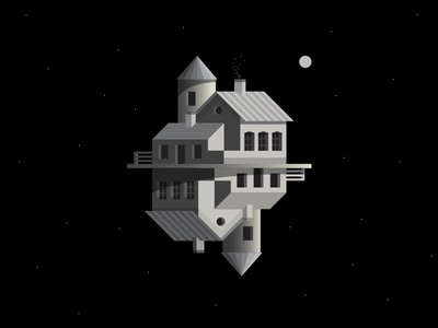 cosmic house stars moon sun architecture building space illistration