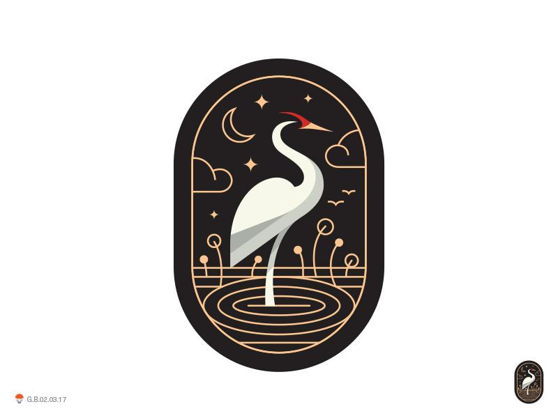 Crane Capsul  stork bird identity symbol mark logo