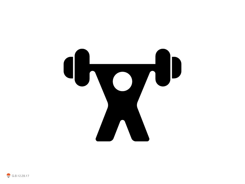 Weightlifter experiment sketch icon mark identity typography symbol logo