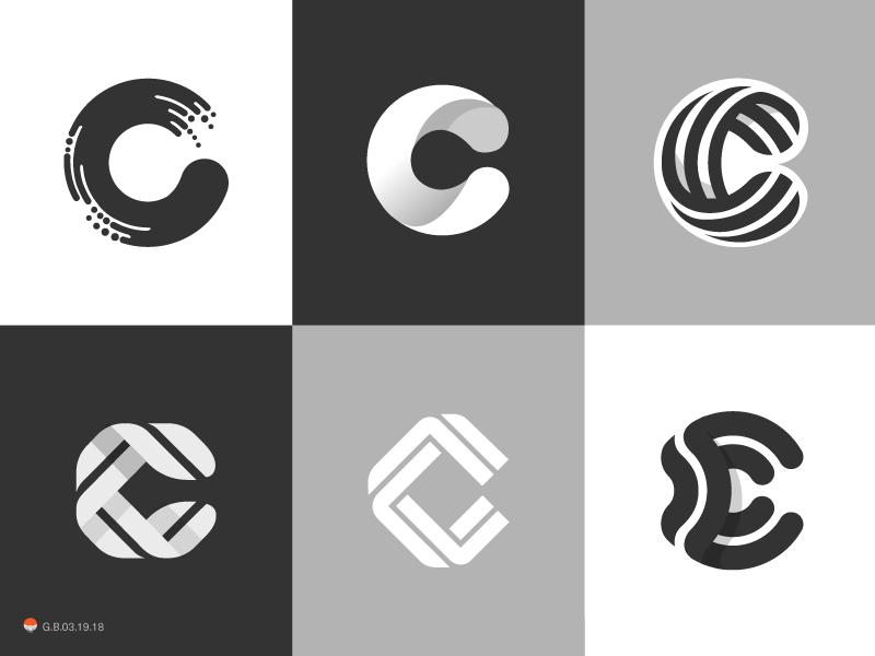 c's experiment sketch icon mark identity typography symbol logo