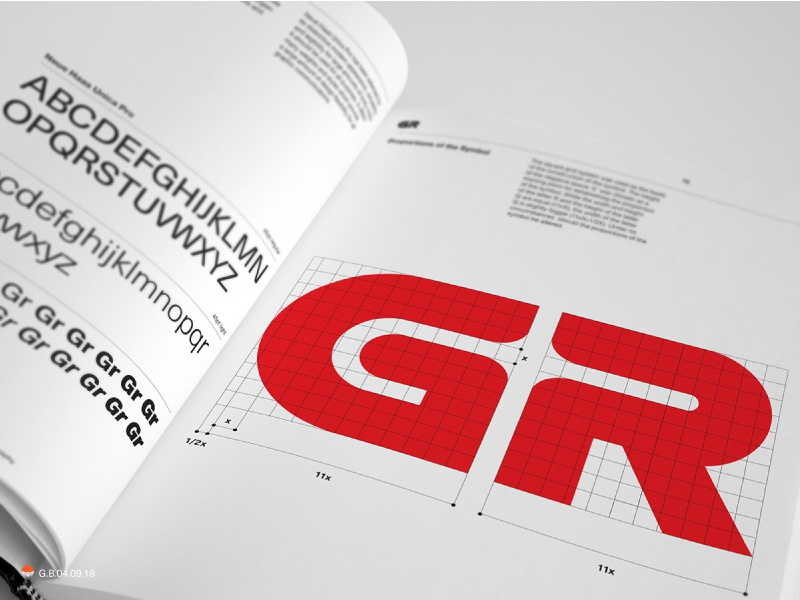 a spread from Georgian Railway guidelines mark identity typography symbol logo