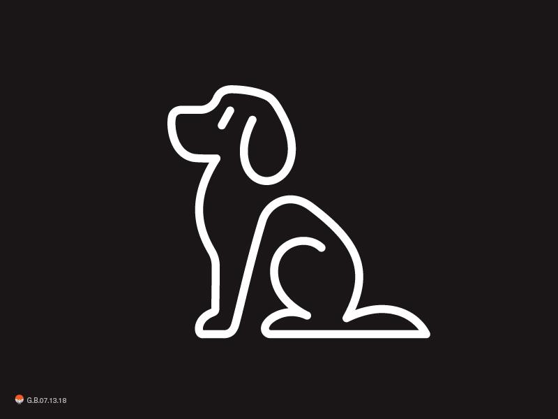dog line experiment sketch icon mark identity typography symbol logo