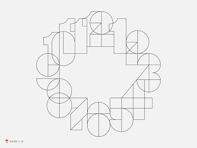 Clock Numbers number design logo